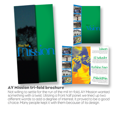 Alliance Youth Mission - trifold brochure